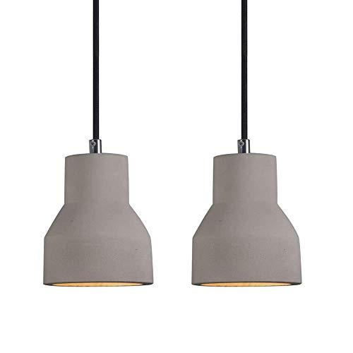 JPL Lámparas novedosas, luz colgante nórdica, pantalla de cemento geométrica, juego de 2 luces colgantes de madera vintage, lámparas de suspensión de techo retro para sala de estar, comedor, cocina,
