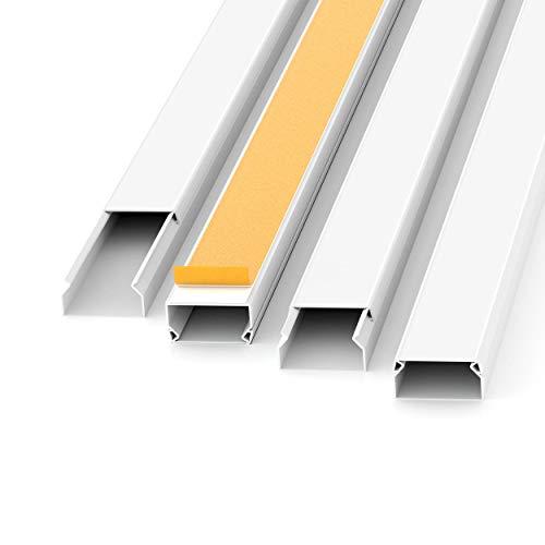 Kabelkanal Selbstklebend Weiss 1m (10 Stk. - 20x10 mm klein) - 10m Kabelkanäle mit Schaumklebeband fertig für Montage an der Wand - 20x10mm