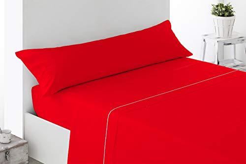 ENERGY COLORS TEXTIL - Excellent 135 - Juego SÁBANAS Completo 3 Piezas Verano Cama 135 x 190-200 cm (Rojo)
