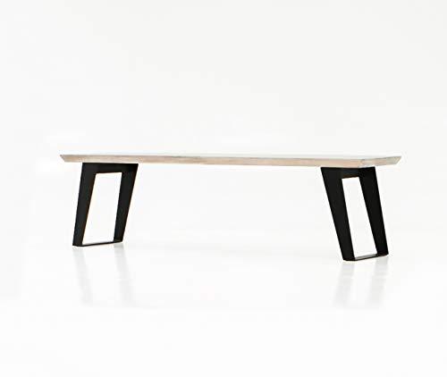 Meubletmoi Bank 170 cm acaciahout – onderstel metaal zwart – modern industrieel design – Bench – collectie Citizen