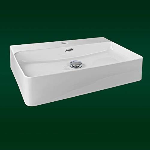 Stabilo-Sanitaer | Aufsatzbecken | Waschbecken Design | Aufsatz-Waschtisch | hochwertige Keramik | Farbe Weiß | 60 x 42 cm Komplettset | Wandmontage Möglich
