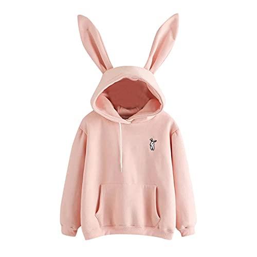 XIANGL Sudadera con Capucha de Deportes otoñales de Mujer Sudaderas con Capucha Mujeres de Manga Larga Conejo Sudadera Bordada Pullover Otoño Orejas de Conejo Jersey (Color : Pink, Size : L)