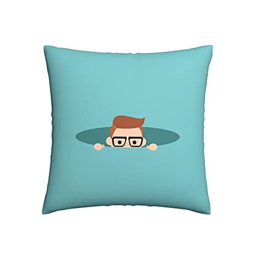 Almohada Cubierta Nerd Curioso Escondido En El Agujero Espiando Tirar Almohada Cojin Cuadrado Fundas Cojín Decorativa Throw Pillow Case para Sofá Cama Balcón 45X45Cm