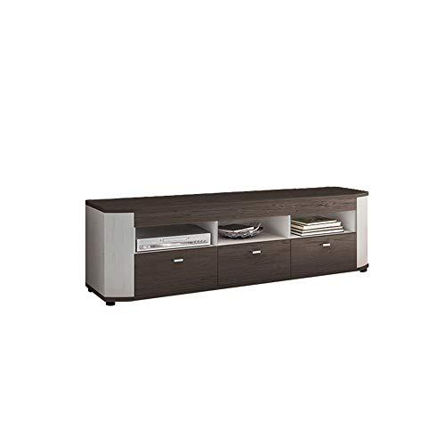 Newfurn TV Lowboard Modern TV kast TV tafel rek board II 175,8x51,7X 44 cm (BxHxD) II [Thies.Seven] in Anderson grenen wit/Riviera donker eiken woonkamer slaapkamer