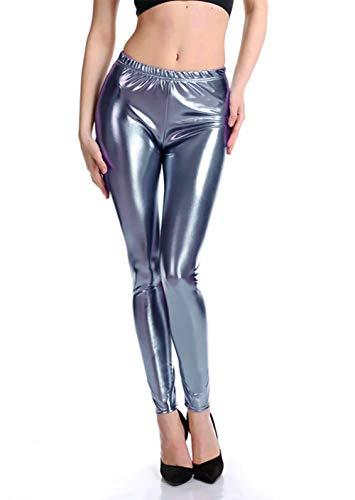 Furein Leggins para Mujer Elásticos Cómodos Acabado Colores Brillantes Metalizados Imitación Cuero con Cintura Elástica (Gris, S/M)