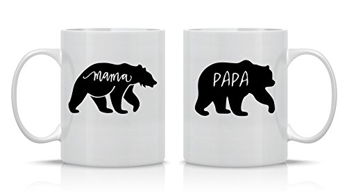 Mama Bear And Papa Bear - 11oz Ceramic Coffee Mug Couples Sets - Couple Gifts For Him And Her - Great Present For Husband And Wife - Children Holiday Gifts For Mom And Dad - By CBT Mugs
