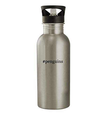 #penguins - 20oz Stainless Steel Hashtag Outdoor Water Bottle, Silver