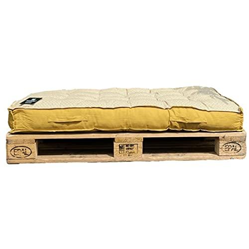 Colchón/cojín para paleta amarillo, reversible, 120 x 80 x 15 cm, 100% algodón, calidad superior