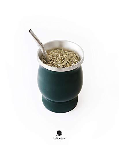 Balibetov [Neu] MATE (Mate Becher) aus rostfreiem Edelstahl mit Bombilla (Sorbet) für mate (Grün)