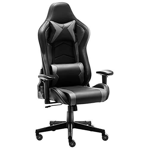 Gaming Chair Office Chair High Back Computer Chair - Ergonomic Adjustable Swivel Desk Chairs with Headrest and Lumbar Support (Grey)