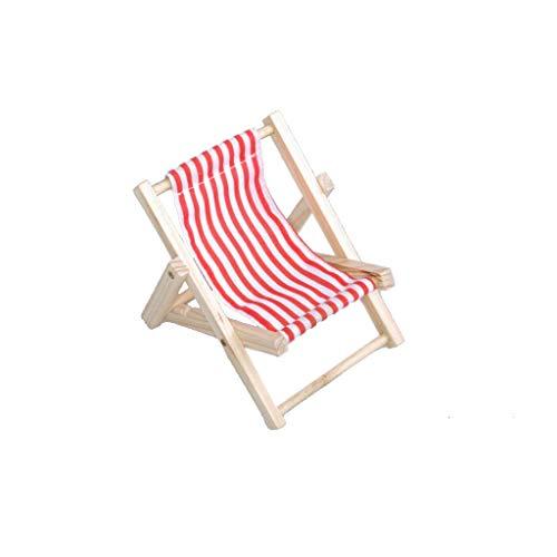 Liegestühle aus Holz - Maritime Dekoration - Sommerdeko - Rot-Weiß - 9 x 15 cm - 5 Stück - 77943