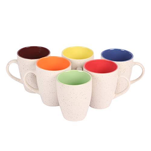 Anwaliya Janus Tapered Ceramic Coffee Mugs, 250 ml, Set of 6, Marble White