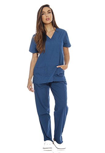 Just Love Women's Scrub Sets Six Pocket Medical Scrubs (V-Neck With Cargo Pant), Carribean Blue, Large