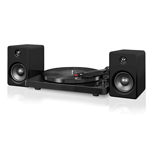Victrola Moderner Bluetooth Plattenspieler aus Holz mit 50-W-Stereo-Lautsprechern, ITUT-420-MBK-EU