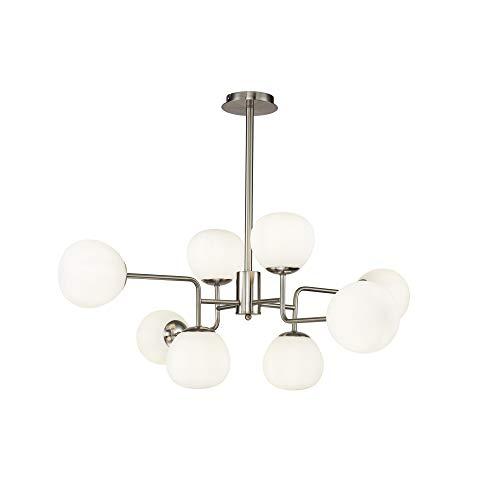 Lustre Suspension Erich 8 lampes, style Moderne, Art Deco, armature en Métal couleur nickel, Abat-jours en verre blanc ampoules excl. E14 8x 40W 220V