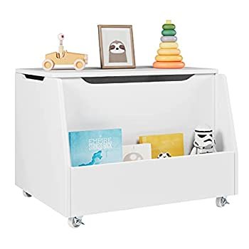 HOMECHO Kids Toy Box Large Toy Chest Cabinet Entryway Storage Bench with Lockable Wheels and Lid for Playroom Toddler Room Living Room White