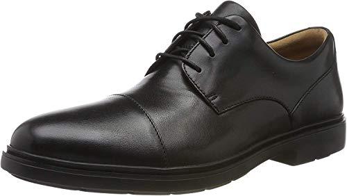 Clarks Un Tailor Cap, Zapatos de Cordones Derby para Hombre, Piel Negra Negra, 44.5 EU