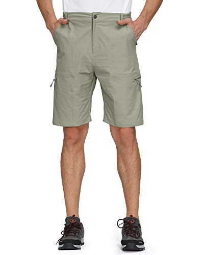 Libin Men's Outdoor Hiking Shorts Lightweight Stretch Quick Dry Cargo Shorts, UPF 50, Water Resistant, Silver Sage L