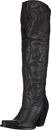 "Dan Post Boots Womens Jilted Snip Toe Western Cowboy Dress Boots Knee High High Heel 3"" & Up - Black - Size 7.5 M"