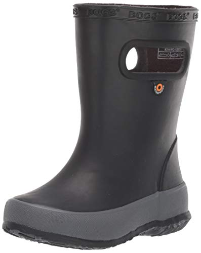 BOGS Kids Skipper Waterproof Rain Boot, Solid Black, 6 Toddler