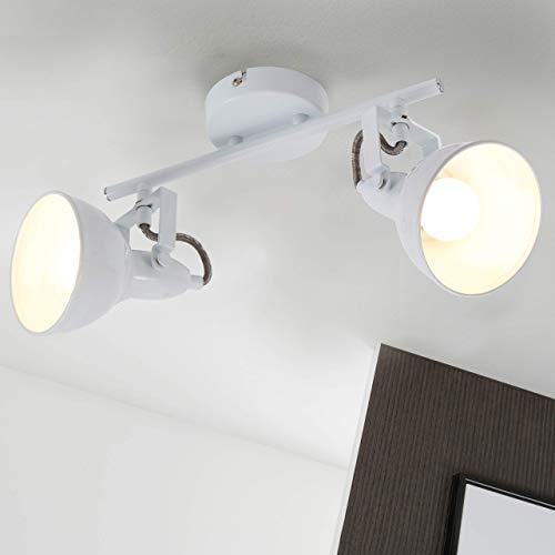 Briloner Leuchten - Deckenleuchte, Deckenlampe mit 2 dreh-und schwenkbaren Spots im Retro/Vintage Design, Fassung: E14 max. 40 Watt, Metall, Maße: 30.4x10x18.1 cm, Farbe: weiß, 30.4 x 10 x 18.1 cm
