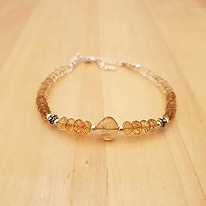 Yellow Citrine Bracelet for women Heart Beads Sterling Silver November Birthstone Jewelry Gift