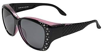 PZ - Polarized Women Sunglasses Wear to Cover Over Prescription Glasses UV Protection and HD Vision  Black Purple + Polarized Grey