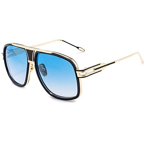 Gafas De Sol Clásicas Clásicas con Montura Grande para Hombre, Gafas De Sol Cuadradas De Metal para Mujer, Gafas Retro De Marca De Lujo, Gafas Uv400 para Hombre, C7Goldgradualblue