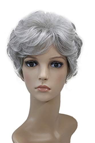 Wiginway Short Grey Curly Wigs Women's Wigs Natural Synthetic Capless Hair Full Wig(Grey)