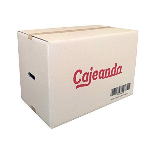 Cajeando | Pack de 10 Cajas de Cartón con Asas | Tamaño 55 x 35 x 37 cm | Canal Doble de Alta Calidad Reforzado y Resistencia | Mudanza y Almacenaje | Fabricadas en España