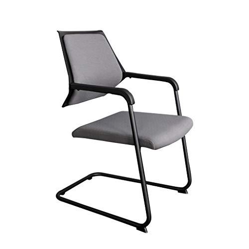 LRSFY zwart-wit eenvoudig boogtype bureaustoel beklede zitting met stalen poten armleuningen achterzijde-stoel-opname-persoonlijke interview