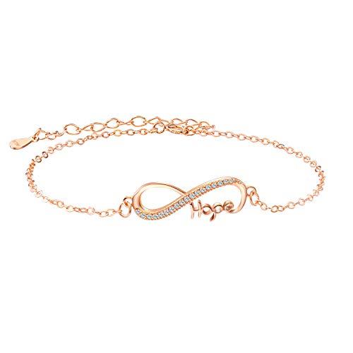 Pulsera infinity para mujer de oro rosa de plata 925, símbolo de infinito, circonita, pulsera de plata de ley 925 para mujer y niña, oro rosa