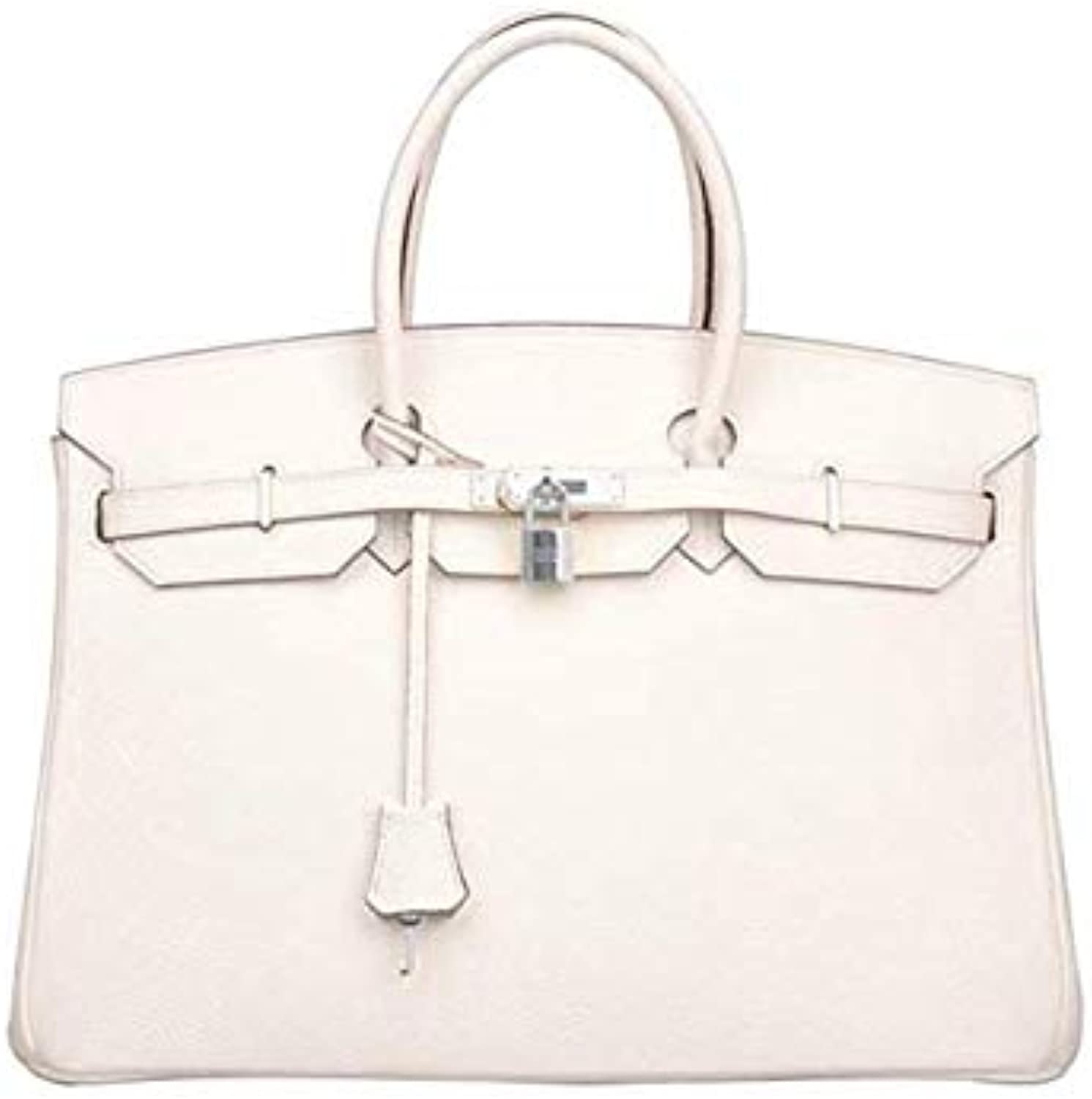 Myla Genuine Leather Womens Boutique Pedlock Top Handle Luxury Bag (White)