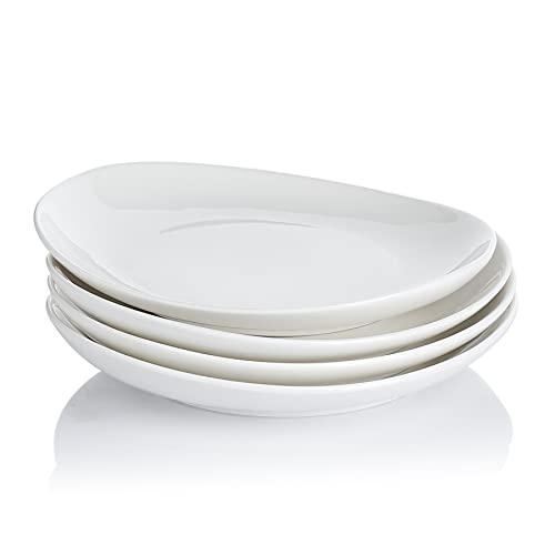 Sweese 151.401 Porcelain Dessert Salad Plates - 7.8 Inch - Set of 4, White