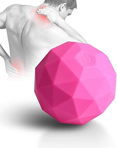 Elektrischer Vibrations Massageball, 2 Geschwindigkeits Hochleistungs Fitness Yoga Pilates Massage Rollerball, wiederaufladbarer waschbarer Negativ-Ionen massageball zur Myofascial Release(Rosa)