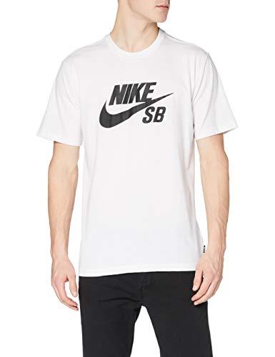 Nike SB Logo, T-Shirt Uomo, Bianco/Bianco/Nero, XL