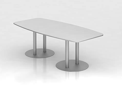 Konferenztisch 220cm Säulenfuß Weiß Silber Bürotisch Besprechungstisch