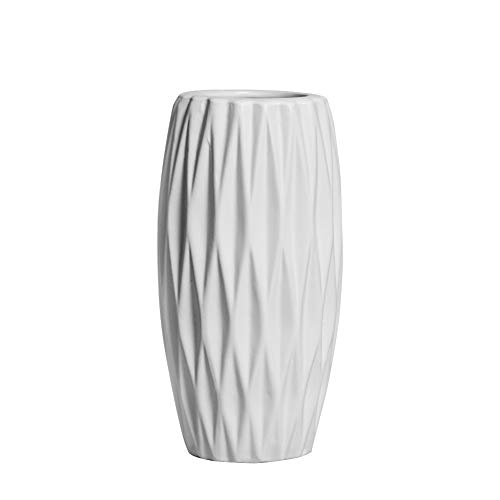 Hetoco 20cm weiß Vase Keramik Vasen Blumenvase Deko Dekoration