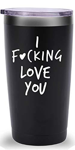 I Fucking Love You Travel Mug TumblerFunny Valentine#039s Day Anniversary Birthday Christmas Day Gifts for Men Women Wife Husband Boyfriend Girlfriend20 oz Black