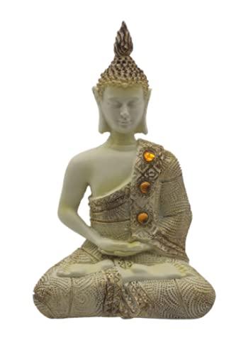 SusggO. Figura de Buda Sentado 20cm. Budas Decorativos Blanco Dorado Adorno estatuilla Resina meditacion Decoracion Mueble Escritorio (Blanco, 20)