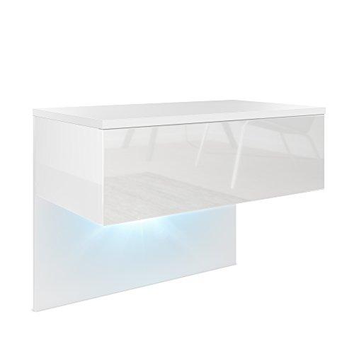 Mesa de Noche Sleep, Cuerpo en Blanco Mate/Frente y Lados en Blanco de Alto Brillo con iluminación LED