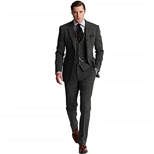 Retro 3 Piece Brown Grey Tweed Herringbone Men's Suits Slim Fit Groom Tuxedos Prom Blazer Custom Jacket