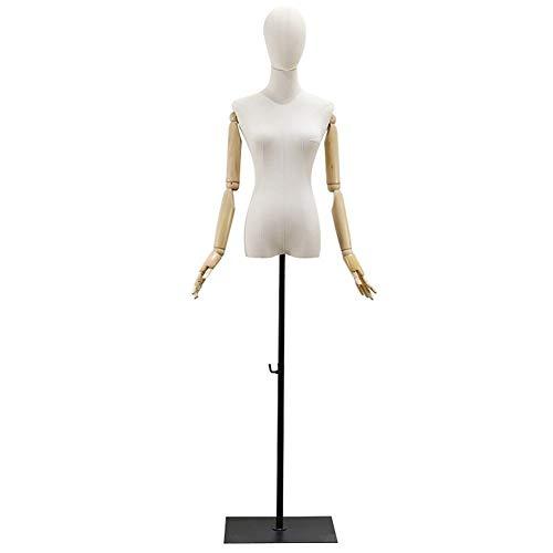 LRHYG Schneiderpuppe Weiblich Schaufensterpuppe Damenbüste Massivholz Arm Können Aktivität Metallfuß Geeignet for Kleidung Schmuck Show (Color : A)