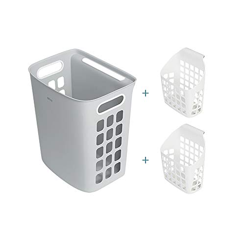 ZHIHQ Washing Basket, 3 PCS Collapsible Laundry Baskets, Folding Laundry Hampers, Storage Basket Saving Space with Handle for Organizing Home, Clothes, Towels And Toy,Gray