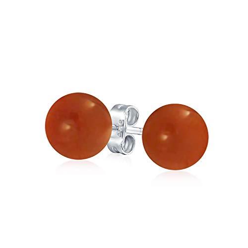 Simple Teñidas De Rojo Coral Natural Bola Pendiente De Boton Redondo Para Mujer 925 Plata De Ley 925 10Mm