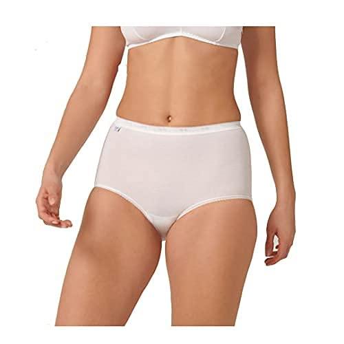 Sloggi sloggi Basic+ Maxi 4P, Culotte Taille haute Femme, Blanc (WHITE 0003), 48 (Taille fabricant: 46) Lot de 4