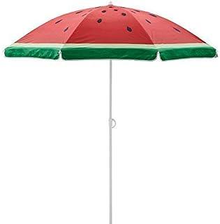 Sand Anchor 6.5 feet Beach Umbrella Outdoor Camping Sunshade Telescoping Pole Portable UV 100+ Protection Beach Umbrella with Carry Bag Watermelon Design (6.5 FT, Watermelon)