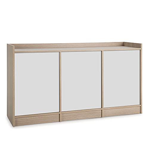 VS Venta-stock Aparador Moscú 3 Puertas y 3 estantes Interiores, Color Roble/Blanco, 139 cm (Ancho) 40 cm (Profundo) 76 cm (Altura)
