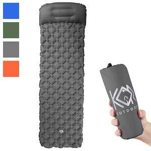 KOR Outdoors Inflatable Camping Sleeping Pad Mattress with Pillow - Grey