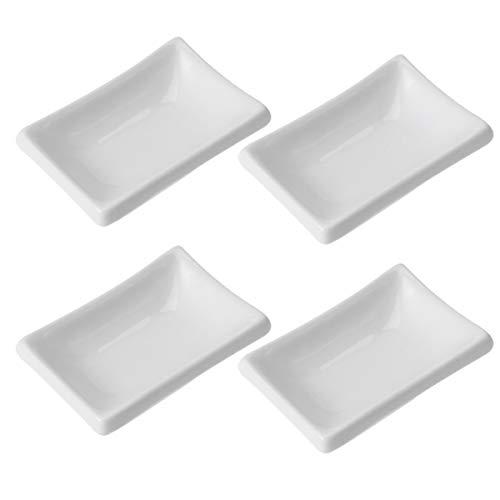 Hemoton 4 Stück Saucenschälchen Keramik Dipschalen Soße Dish Gewürzschale Würze Gerichte/Sushi-Soja-Dipping-Schüssel, Snack-Serviergeschirr für Küche,8,3 X 5,5 X 2,5 cm
